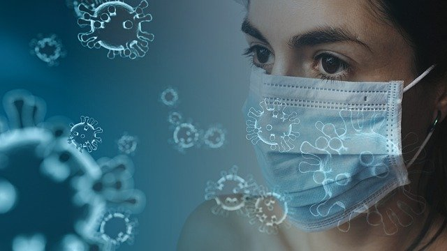 woman wearing facemask amid coronavirus particles